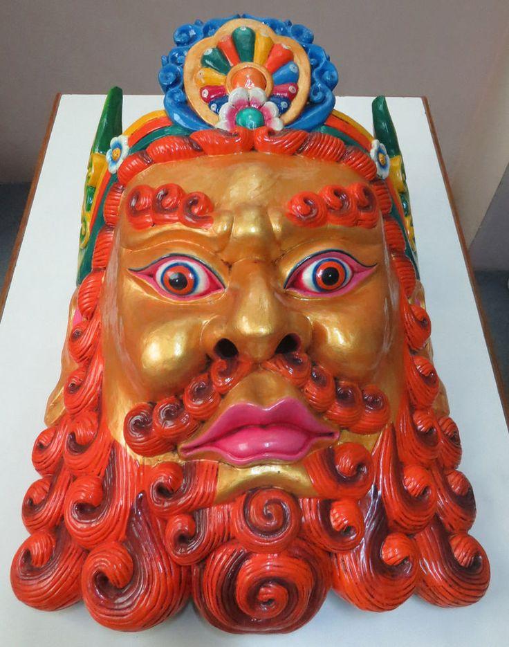 Monk Mask: wood Nepal Tibet Tibetan Buddha Buddhist Chinese Pirate beard