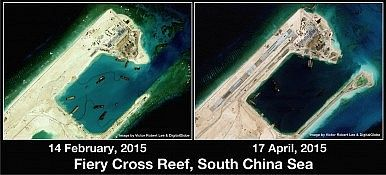 Fiery Cross Reef (Yongshu Jiao): China's new airstrip in the South China Sea under construction (Spratly Islands). http://thediplomat.com/2015/04/south-china-sea-chinas-unprecedented-spratlys-building-program/