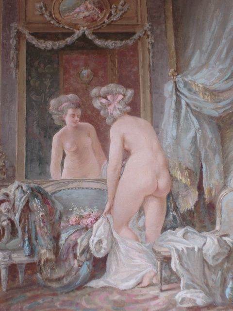 The dressing room, 19th Century French gouache painted in the manner of the 18th century French artist, Pierre Antoine Baudoin