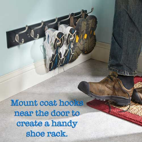 A clever life hack for keeping the hallway clear of clutter from Handyman Magazine! Find home plans with mud rooms here http://www.dongardner.com/Mudroom-House-Plans.aspx #Shoerack #DIY #Mudroom