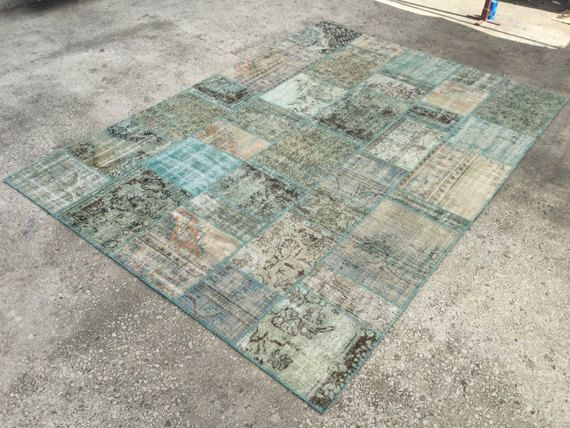 Baby Blue Rug Patchwork Distressed Anatolian Carpet