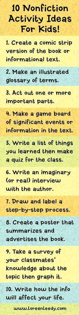 10 Nonfiction Activity Ideas for Kids!