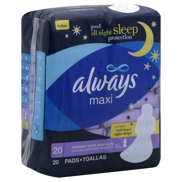 Always Maxi Pads, Overnight Extra Heavy Flow