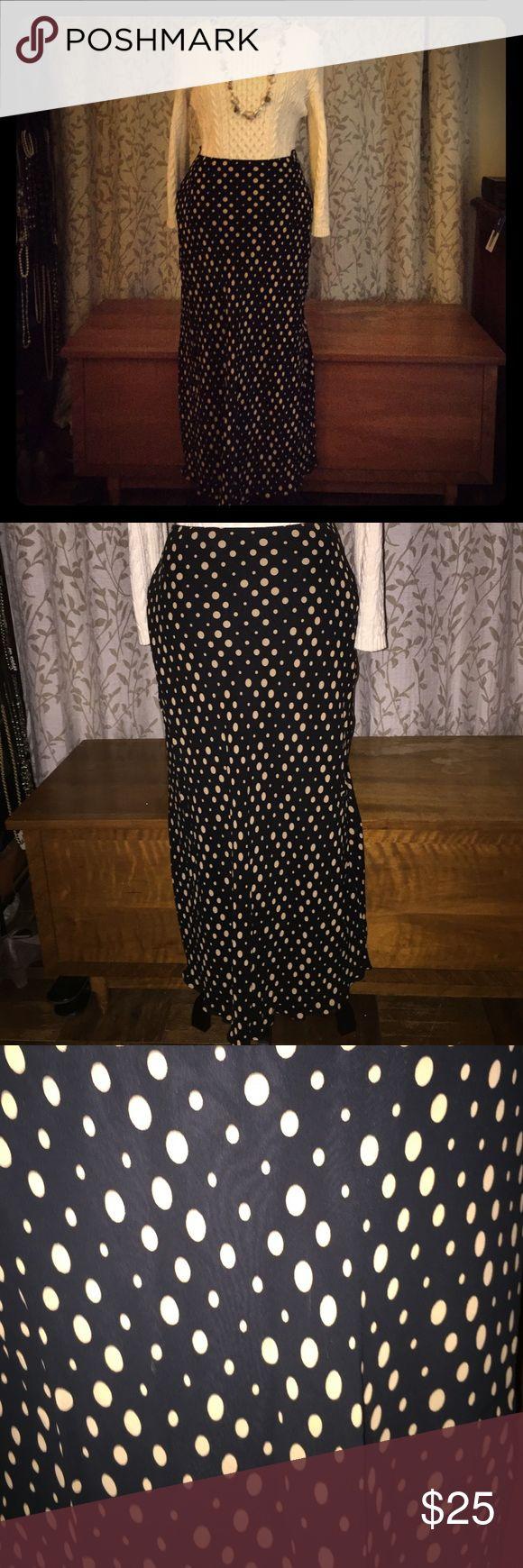 Marks & Spencer's, black and tan polkadot skirt. Fully lined midi skirt with elastic waistband. marks and spencer's Skirts Midi