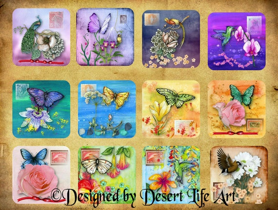 RAINBOW of COLORS  Flowers  Squares  Stickers by DesertLifeArt, $4.50