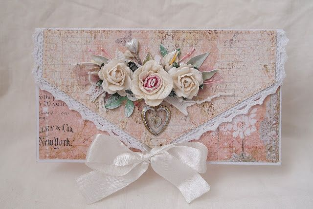 handmade shabby chic envelope ... soft colors ... lovely montage ...
