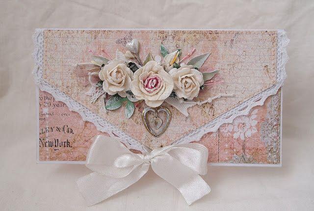 handmade shabby chic envelope ... soft colors ... lovely montage ...