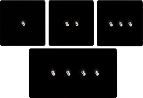 Toggle Light Switches Flat Plate Dimension Screwless Jet Black - Gang Options