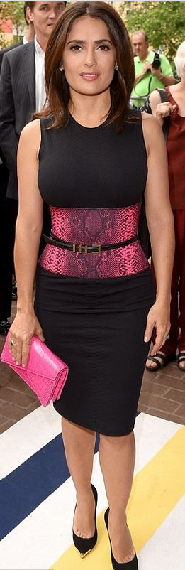 Who made Salma Hayek's pink snake print and black dress that she wore in Toronto