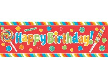 "Giant Party Banner, ""Happy Birthday"" (Sugar Buzz) 