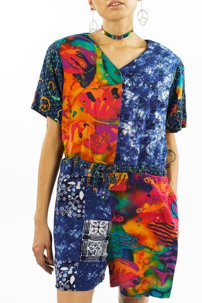 c82230941bd2 Vintage 80s 90s Tropical Fish Print Romper - XS S M