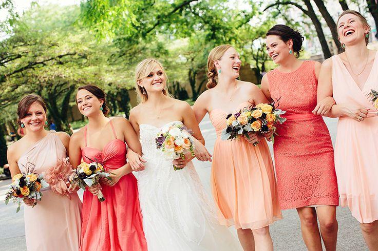 pink/ombre/bridesmaids/dresses/vestidos/damas/rosa/coral/trends/wedding/boda/bride/novia/tendencias/2013/2014/www.joyfulevents.com.mx