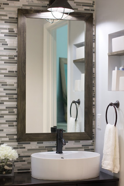 Bathroom backsplash with framed mirrors. 17 best ideas about Tile Mirror Frames on Pinterest   Framing a