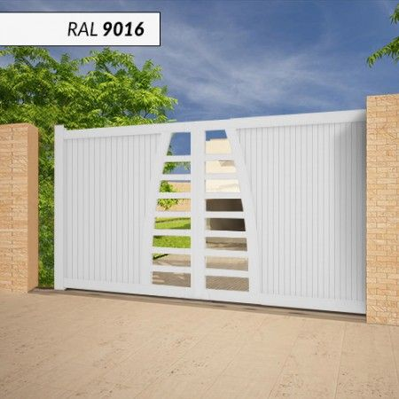 Portail EMALU HBIKI coulissant - fabrication 100% aluminium. Une gamme de couleurs disponible BLANC - GRIS ANTHRACITE - BLEU - BORDEAUX - VERT - NOIR