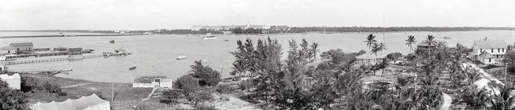 "Palm Beach, Florida, circa 1910. ""Lake Worth and the Royal Poinciana."" Henry Flagler's giant hotel, Snell's tiny Menagerie, a ferry landing and other points of interest feature in this panorama of four 8x10 glass negatives."