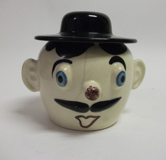 50s Vintage Mustache Man Cookie Jar