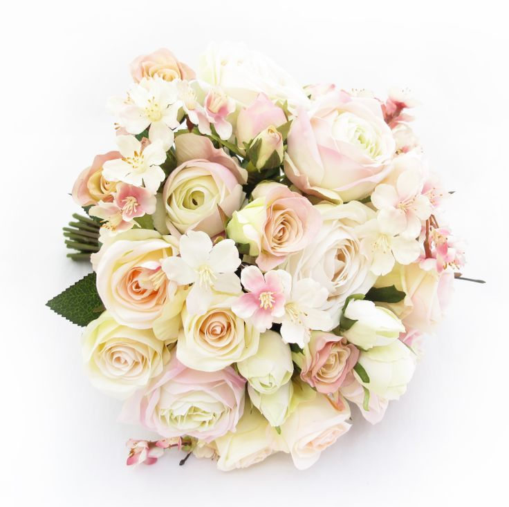 A Large Bridal Posy Of Cream Pink Garden Roses Champagne
