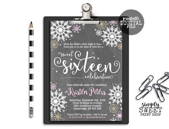 Sweet Sixteen 16 Girl Birthday Party Invite Invitation Winter Wonderland Pink Glitter Gold Chalkboard Chalk White Snow Snowflakes Stars
