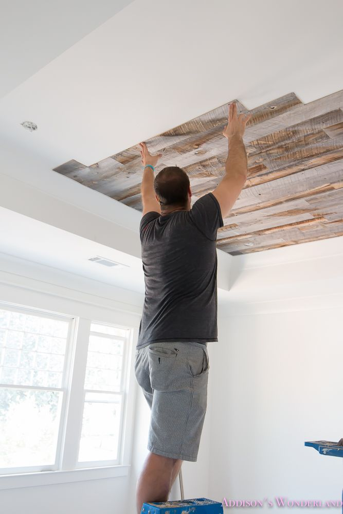 A full tutorial for our reclaimed weathered wood ceiling!  alabaster-walls-sherwin-