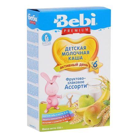 Bebi Каша Премиум фрукты/злаки ассорти молочная, с 6 мес.  — 167р.  Эта каша, содержащая специально подобранный сбалансированный микс из злаков и фруктов, отлично разнообразит меню малыша.   Рекомендован для детского питания с 6 месяцев.       В каталоге интернет-магазина Kideria Вы сможете найти множество полезных товаров для Вас и Вашего малыша по отличным ценам! Детство с Kideria.ru – это весело и выгодно!
