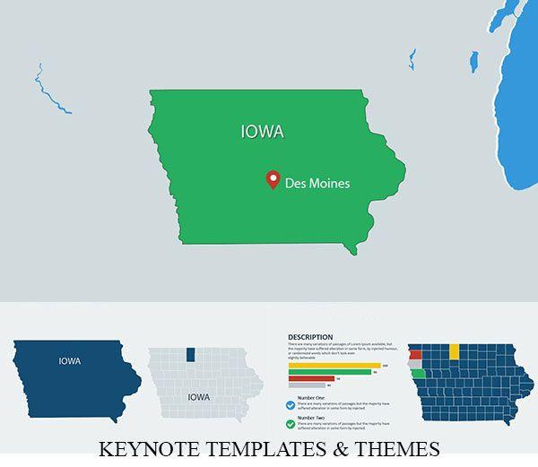Usa Iowa With Counties Keynote Maps Keynote Keynote Template Map
