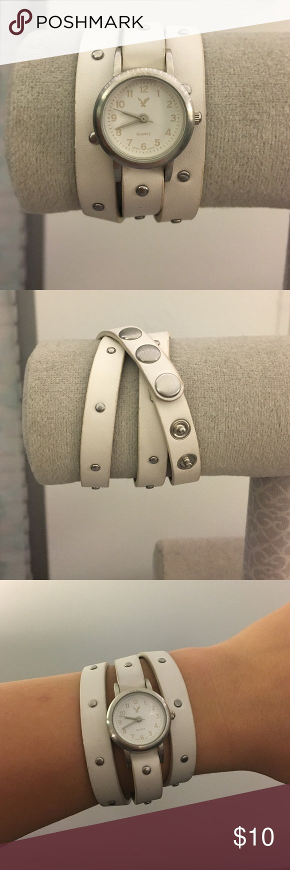 American Eagle watch White & silver watch with silver stud accents, triple wrap around, super cute addition to any outfit! American Eagle Outfitters Jewelry Bracelets