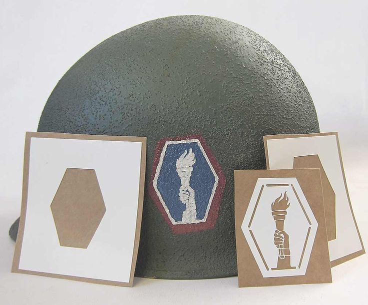 442nd Regimental Combat Team Helmet Stencil.   The 442nd Regiment was the most decorated unit for its size and length of service in the history of American warfare.   http://www.warhats.com/ww2-american-stencils.html   www.warhats.com