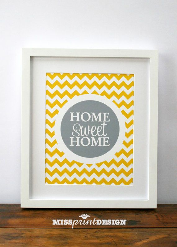 HOME sweet HOME Chevron Wall Art Print House by missprintdesign, $18.00