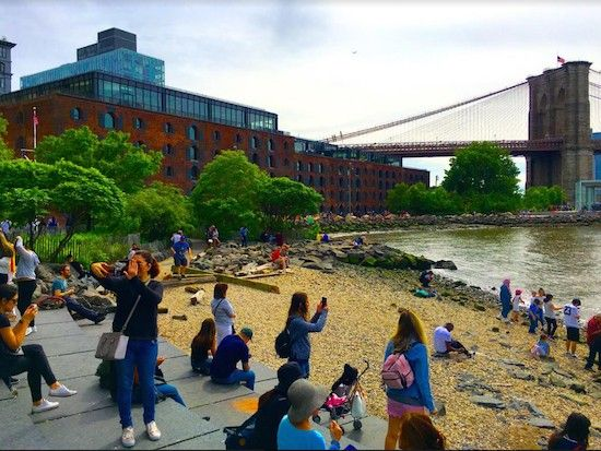 There's new public space on the roof of Empire Stores, seen here from Brooklyn Bridge Park. Eagle photos by Lore Croghan