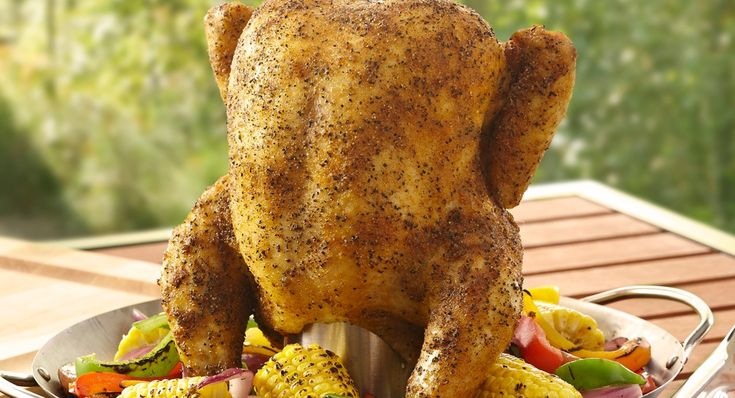 Lawry's® Beer Can Chicken: A unique method of cooking chicken on the grill. The seasoning rub on the chicken yields crisp flavorful skin, while cooking the bird over a beer can keeps the...