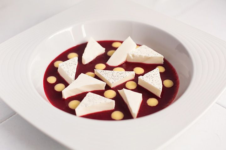 Red soup with panacotta