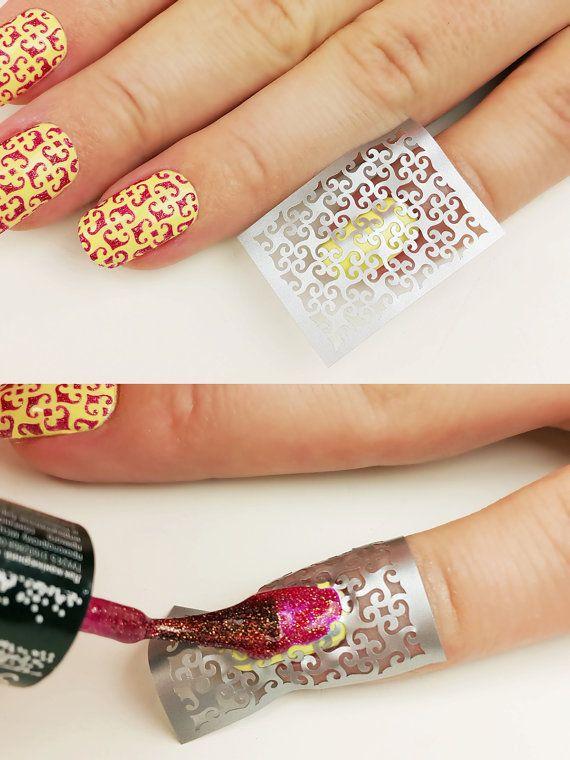 Curls pattern Nail Art Stencils  incredible nail art vinyls