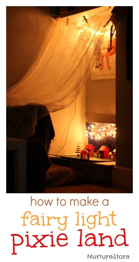 What a wonderful idea for dark nights: make a fairy land using fairy lights. Lovely for imaginary play.