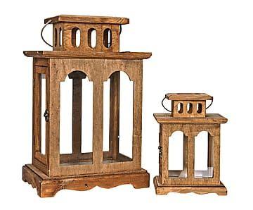 Set de 2 faroles en madera Acuarius – marrón