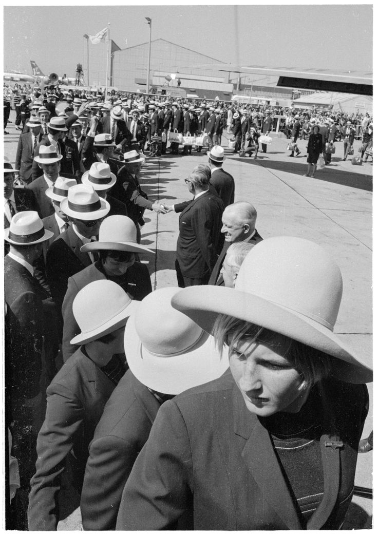 The Australian Olympic Team departs on Qantas for Mexico, Mascot, 16 September 1968. Australian Photographic Agency Collection, State Library of New South Wales: http://www.acmssearch.sl.nsw.gov.au/search/itemDetailPaged.cgi?itemID=145632