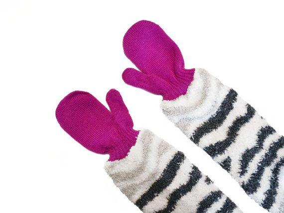 Childrens Long Mittens, toddler mittens, baby mittens, purple mittens