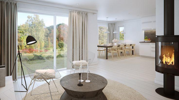 Store vinduer og åpen planløsning skaper en behagelig og lys atmosfære.