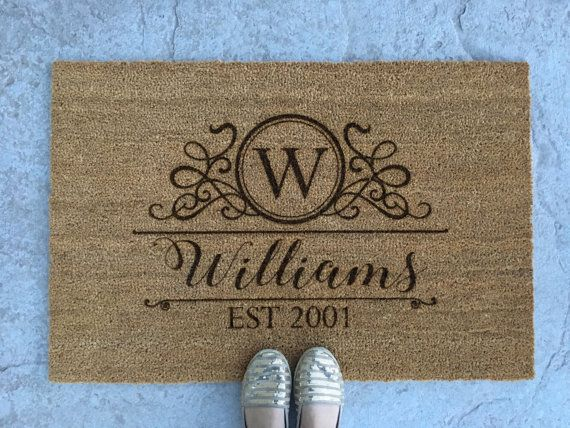 Personalized Welcome Mat - Custom Doormat - Great Gift  What a beautiful way to welcome your guests! Makes a great gift for any occasion! Wedding gift, housewarming gift, client gift, Christmas gift, etc...  These outdoor doormats measure 35 by 23 inches. The bottom surface has a rubberized backing to keep them in place. They are cleaned by easily shaking out or vacuuming. ORDERING INSTRUCTIONS: Include the last name in the Note to Seller field during the checkout process. Include multiple…