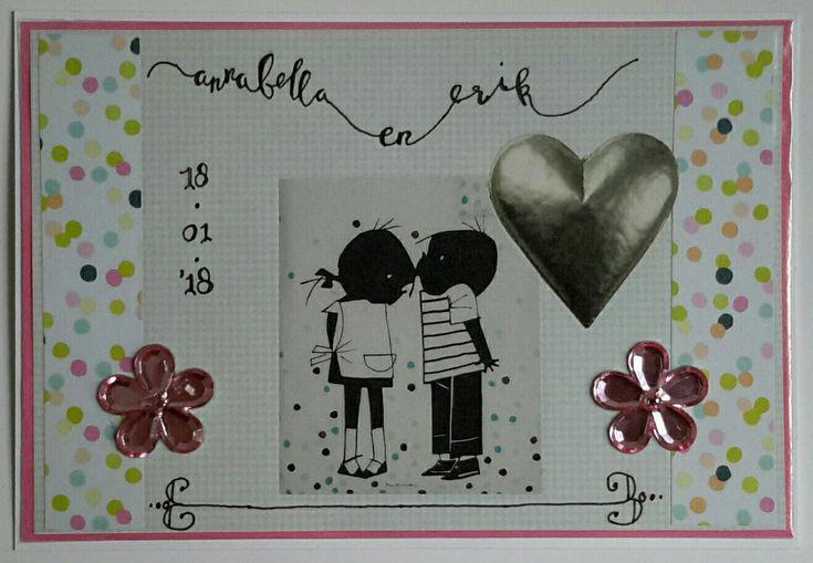 #trouwkaart #jipenjanneke #handlettering #crafting #marriage #postcard