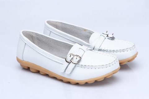 Genuine Leather Slip-On Striped Pattern Wedges Heel Closed Round Flats - 7 Colors