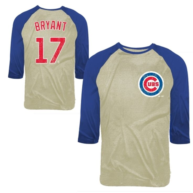 Kris Bryant Chicago Cubs Majestic Softhand Name & Number Raglan T-Shirt - Tan