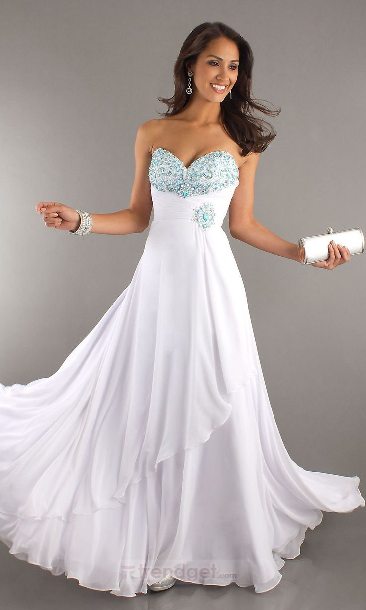 Awesome white long prom dresses under 100 crest princess for Long wedding dresses under 100