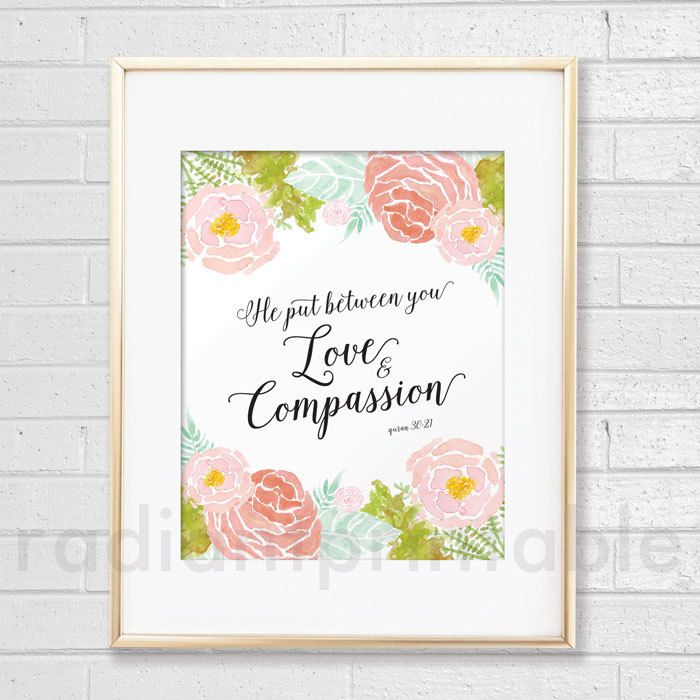 Love and Compassion (8x10 & 5x7), Islamic Wall Art Print -Instant Download by radiantprintable on Etsy
