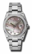 Rolex Datejust Black Mother of Pearl Dial Automatic Diamond Bezel Steel Ladies Watch 116244BKMDO