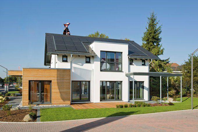 Das Energie-Plus-Haus von Fingerhut greift gleich auf dreierlei regenerativer Energie zurück. Außerdem erreicht es den beachtlichen Standard von KfW 40