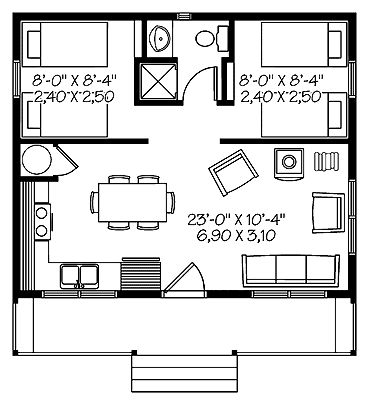 Two Bedroom Country (HWBDO66032)   Country House Plan from BuilderHousePlans.com