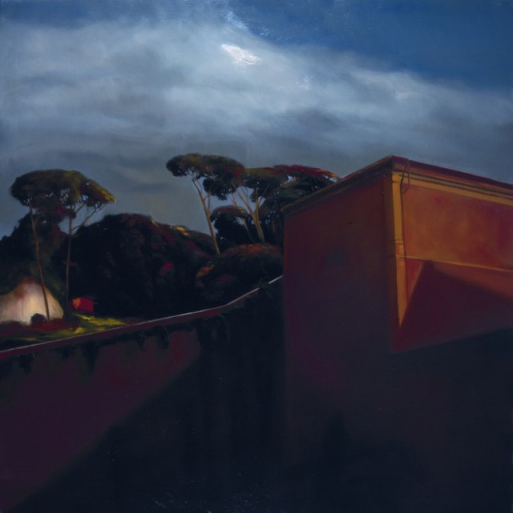 "Francesco Parisi, ""The red house"", oil on canvas, 2008, cm 150x150"