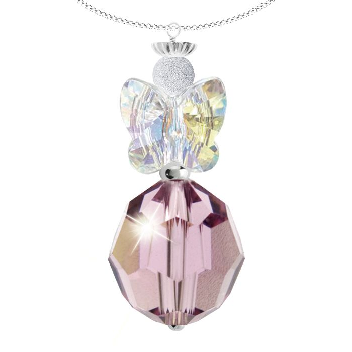 JUNE ANGEL BIRTHSTONE PENDANT - Enchanting sterling silver Swarovski crystal angel pendant.  This heavenly pendant features a radiant faceted 10mm light amethyst Swarovski crystal and a sparkling pair of clear crystal angel wings. A sterling silver halo crown adds a delightful finishing touch to this unique design.  Each pendant is made to order and the angel measures approximately 3cm in length.  June Angel is set on a sterling silver chain with a 5cm extension.