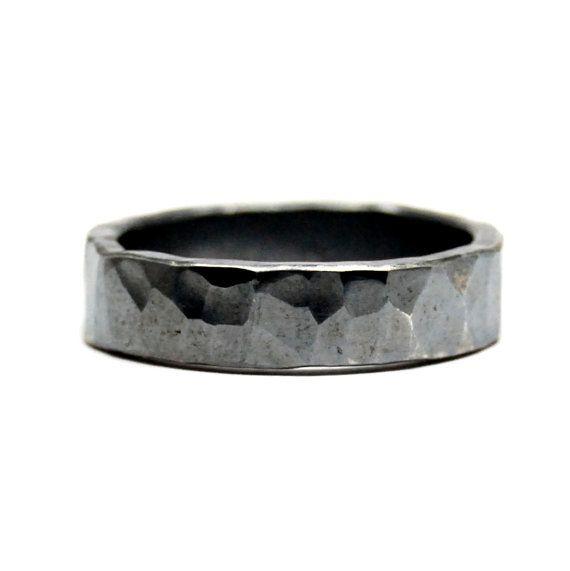 Rockstar Oxidised Hammered Silver Ring Wedding Ring Wedding Jewelry Commitment Ring Wedding Band Textured Black Ring Hammered Ring Mens Ring