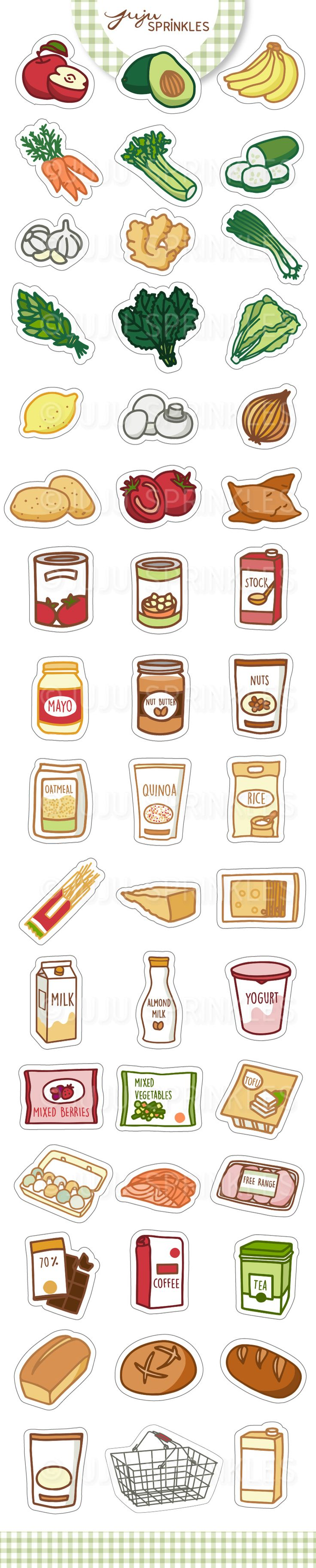 Grocery Shopping Clipart / Stickers / Illustrations  Juju Sprinkles https://www.etsy.com/listing/538825566/grocery-clipart-vegetable-clipart-food?ref=shop_home_active_2